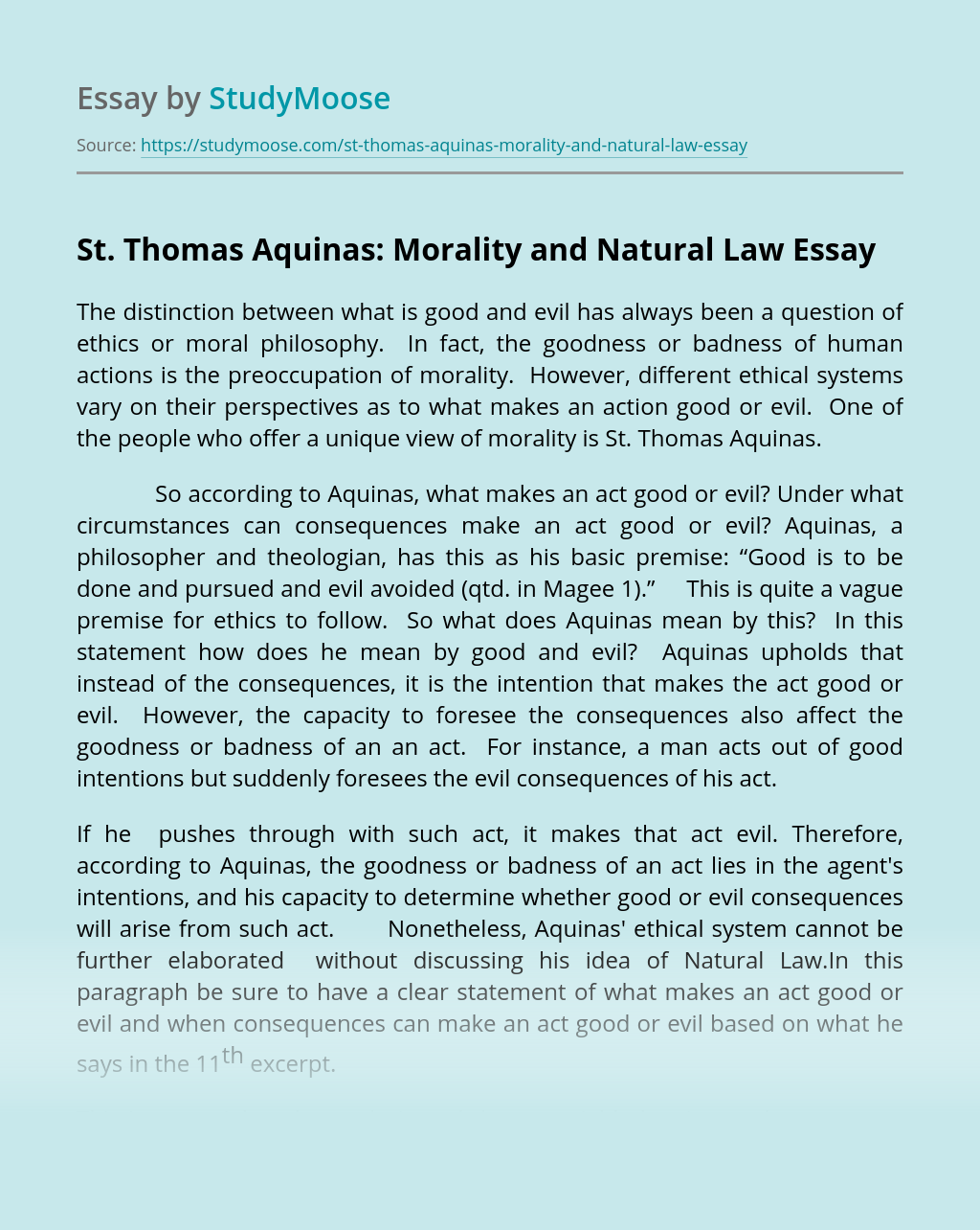 St. Thomas Aquinas: Morality and Natural Law