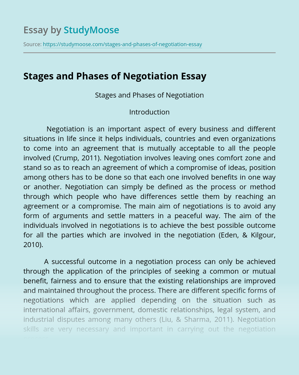 Stages and Phases of Negotiation
