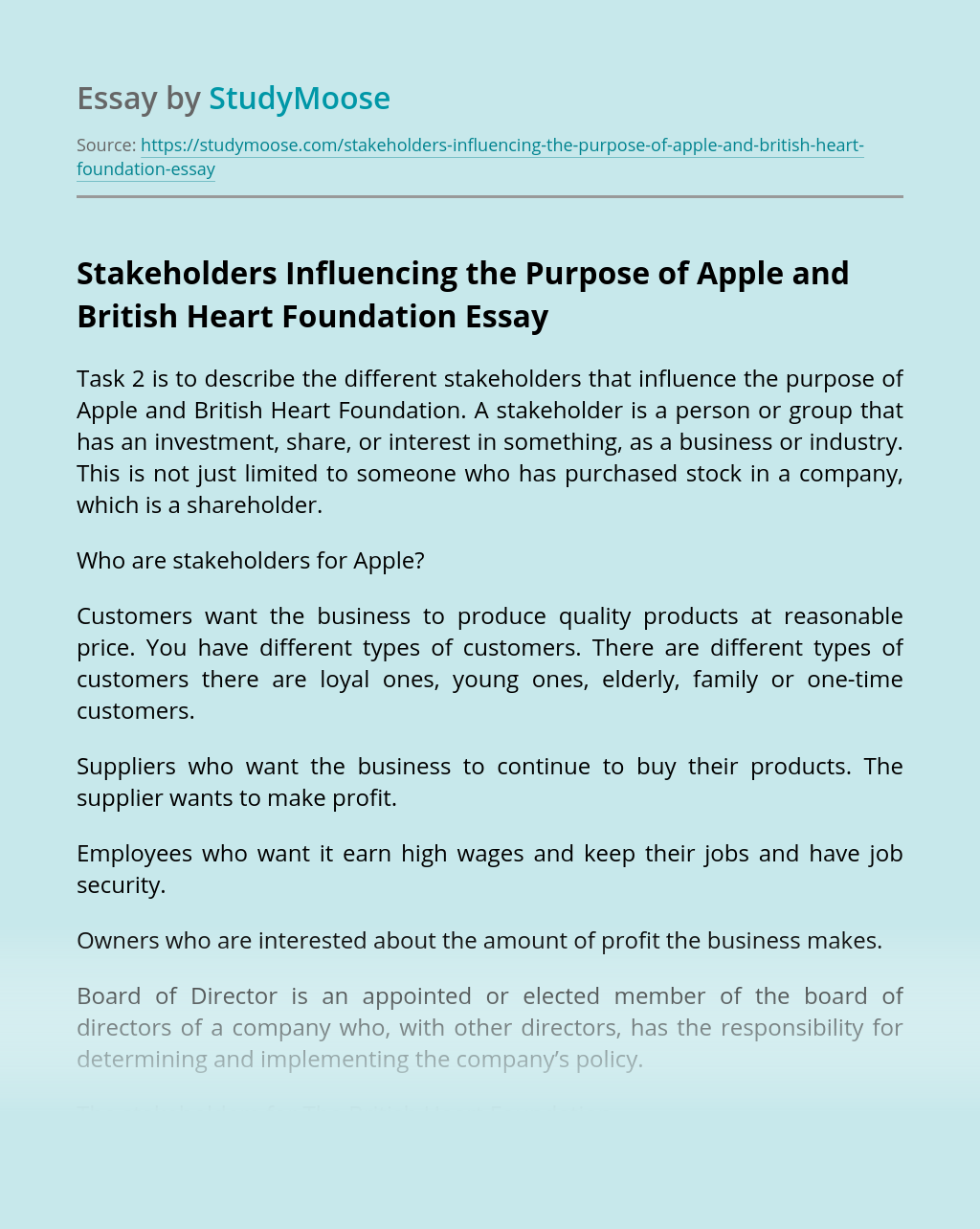 Stakeholders Influencing the Purpose of Apple and British Heart Foundation