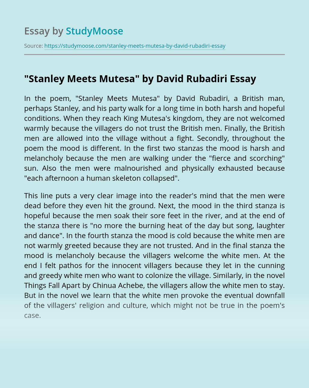 """Stanley Meets Mutesa"" by David Rubadiri"