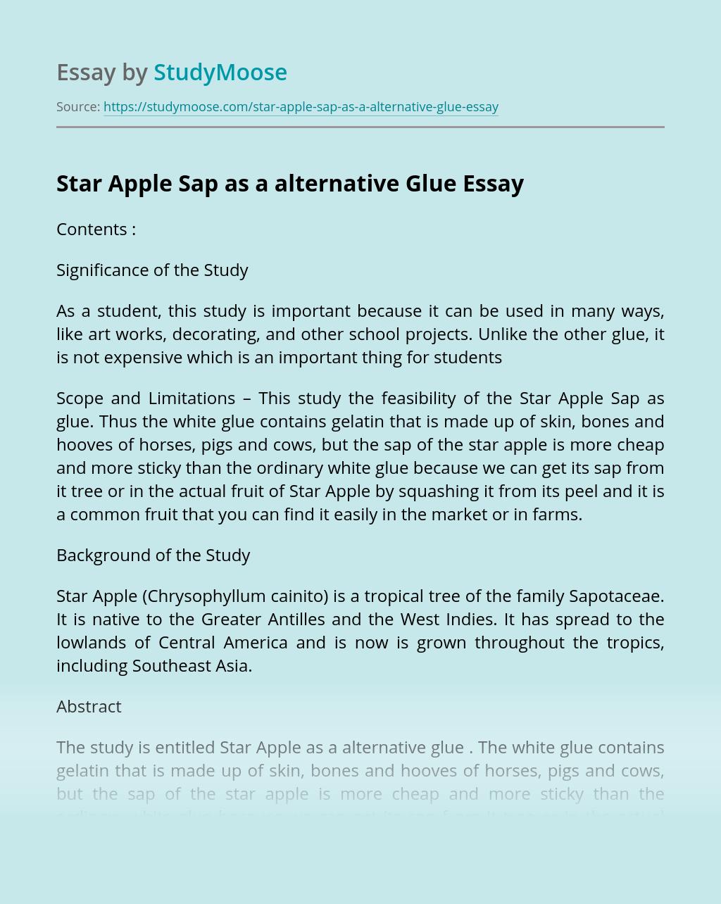Star Apple Sap as a alternative Glue