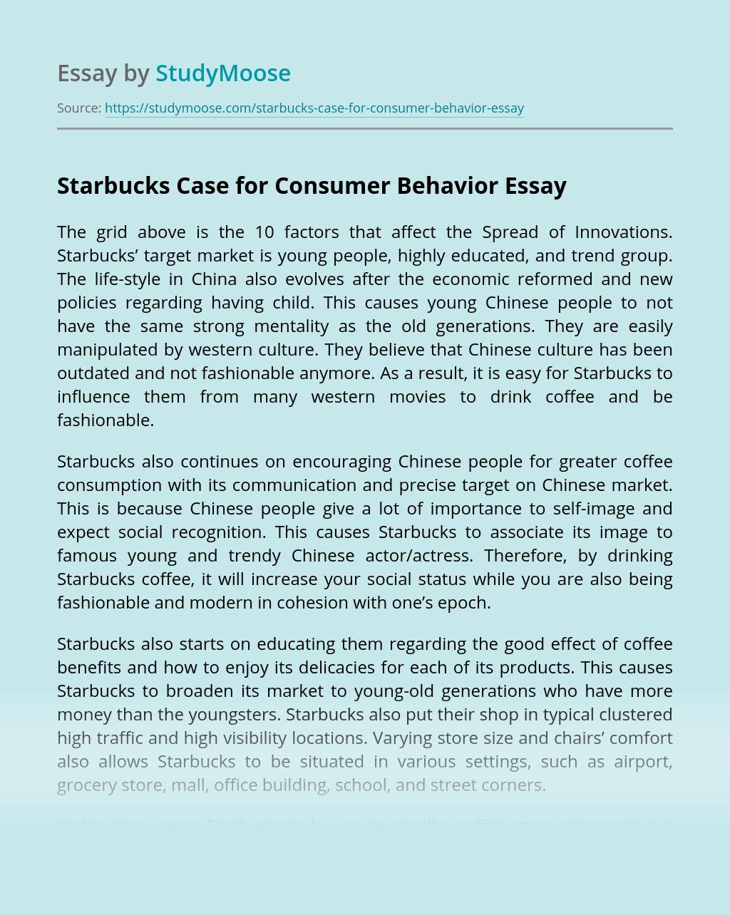 Starbucks Case for Consumer Behavior