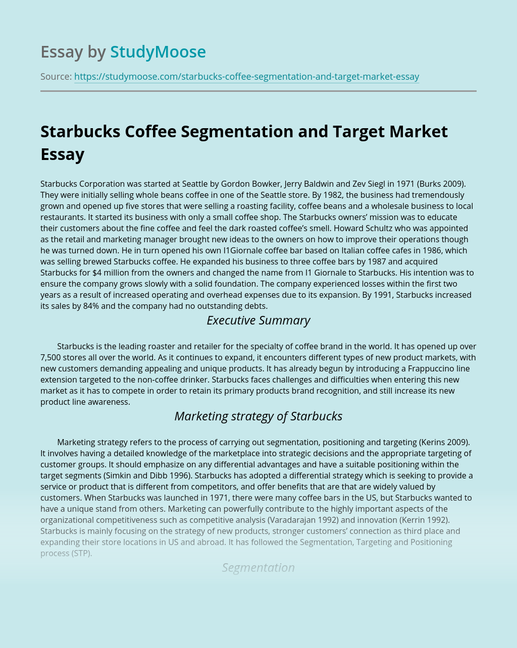 Starbucks Coffee Segmentation and Target Market