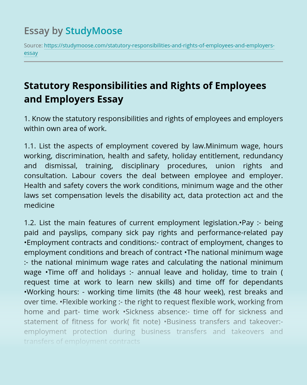Statutory Responsibilities and Rights of Employees and Employers