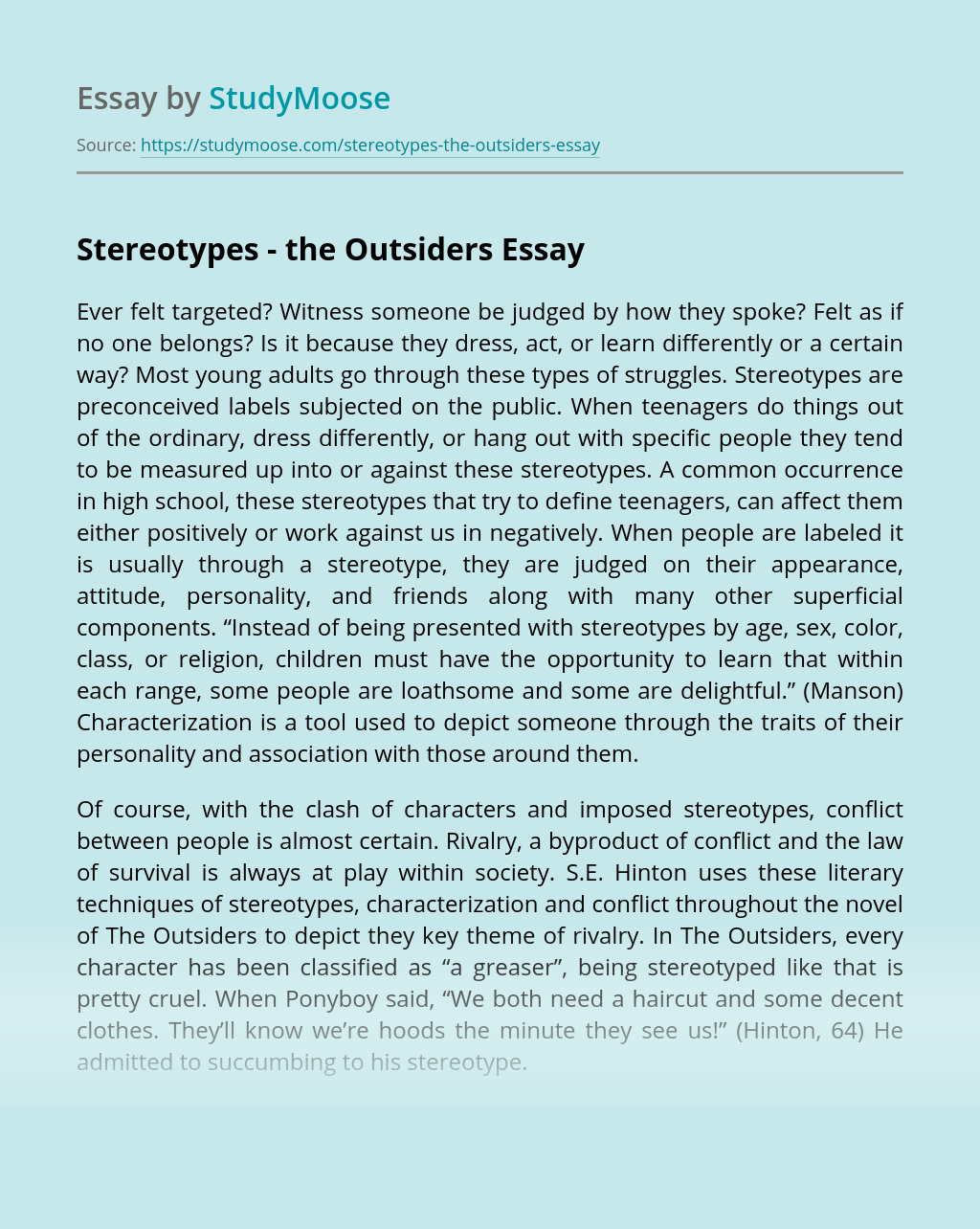 Essays on The Outsiders. Essay topics and examples of research paper about The Outsiders
