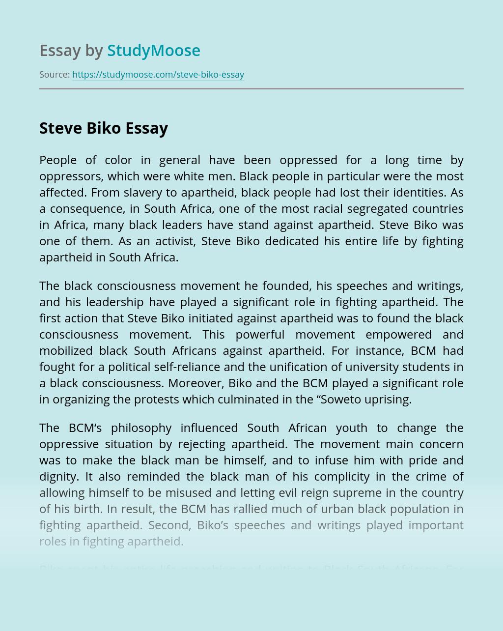 Steve Biko Biography and Life