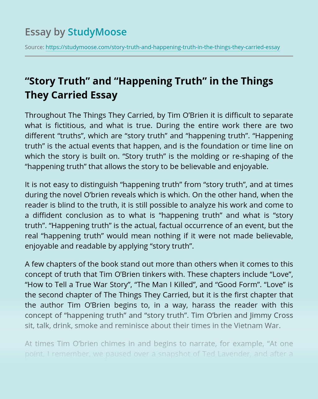 """Story Truth"" and ""Happening Truth"" in the Things They Carried"
