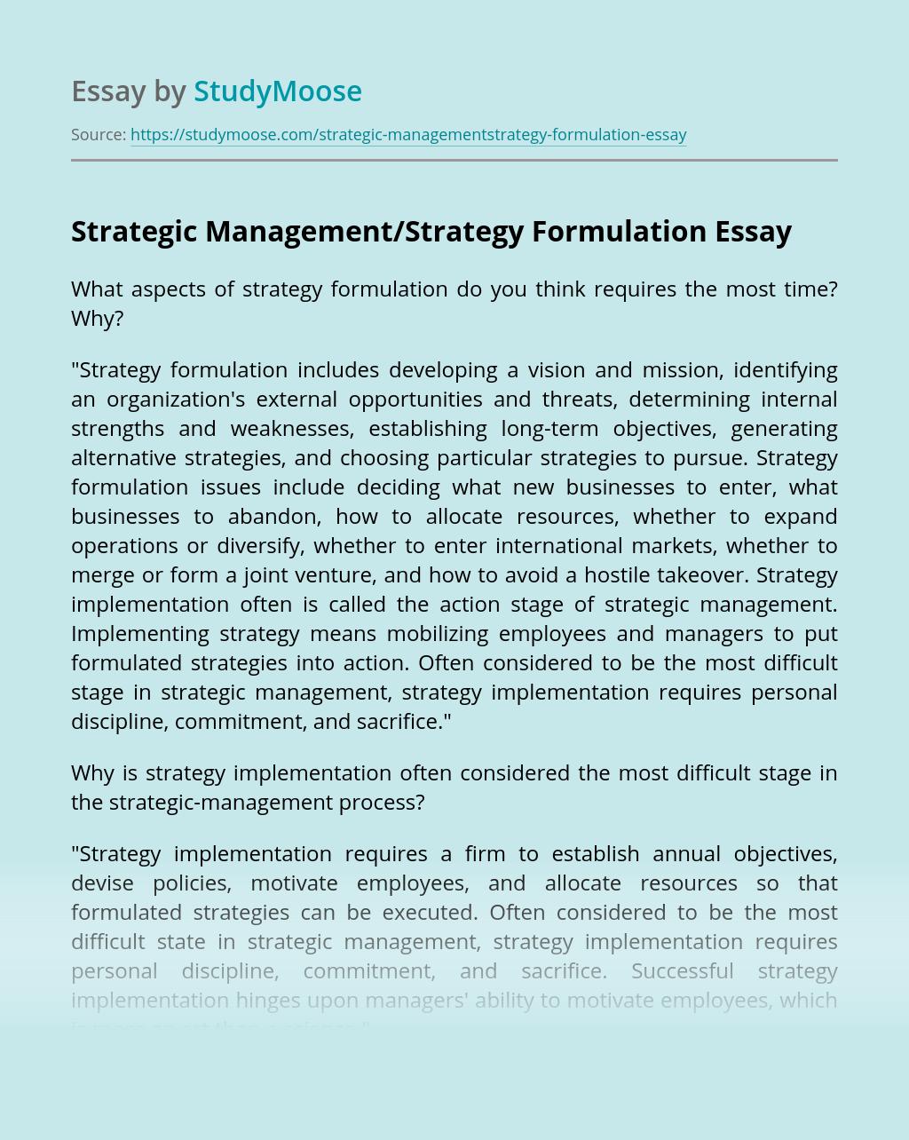 Strategic Management/Strategy Formulation