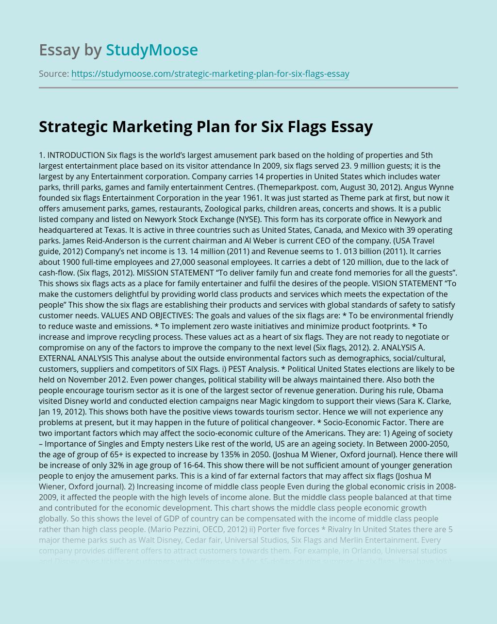 Strategic Marketing Plan for Six Flags
