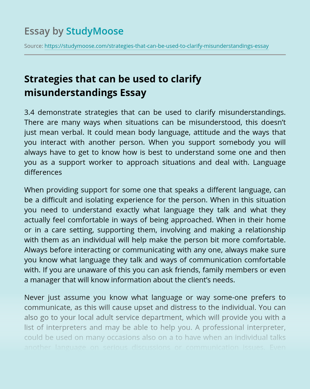 Strategies that can be used to clarify misunderstandings