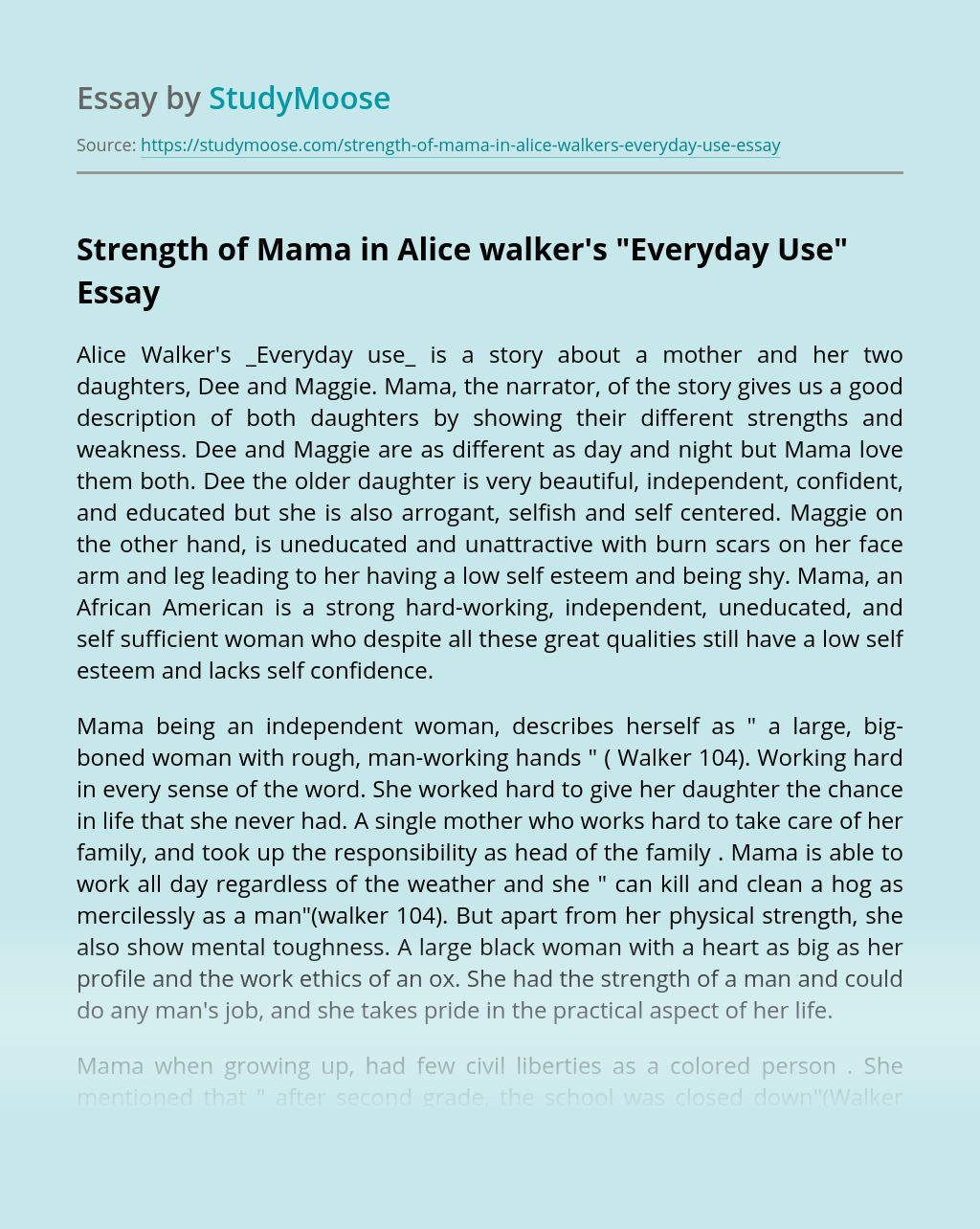 free essay on everyday use by alice walker