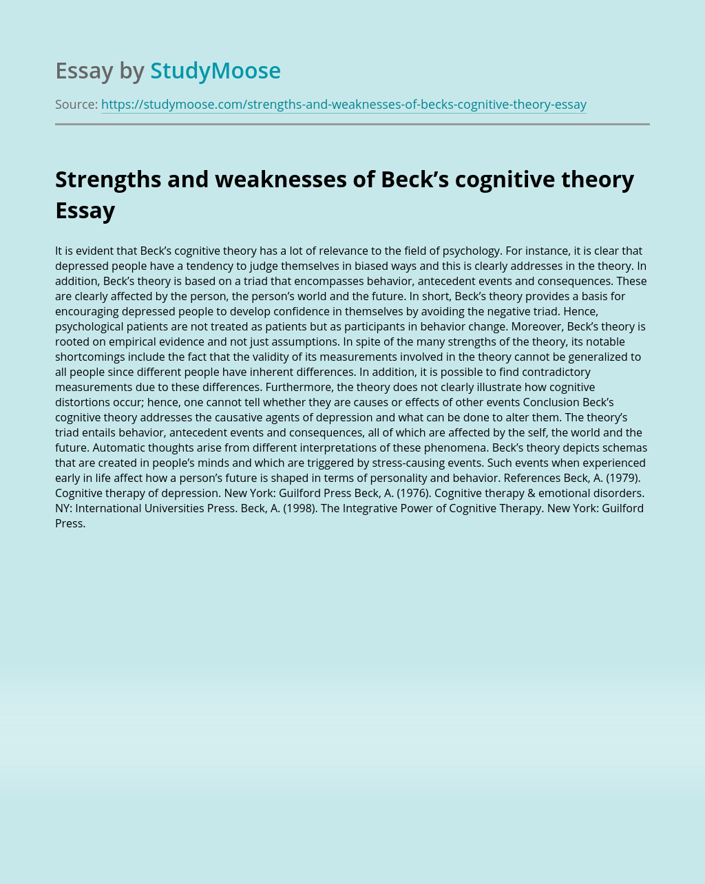 Strengths and weaknesses of Beck's cognitive theory