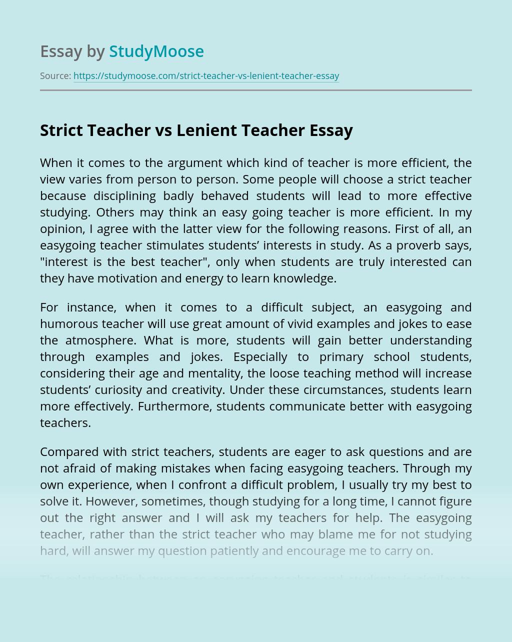 Strict Teacher vs Lenient Teacher