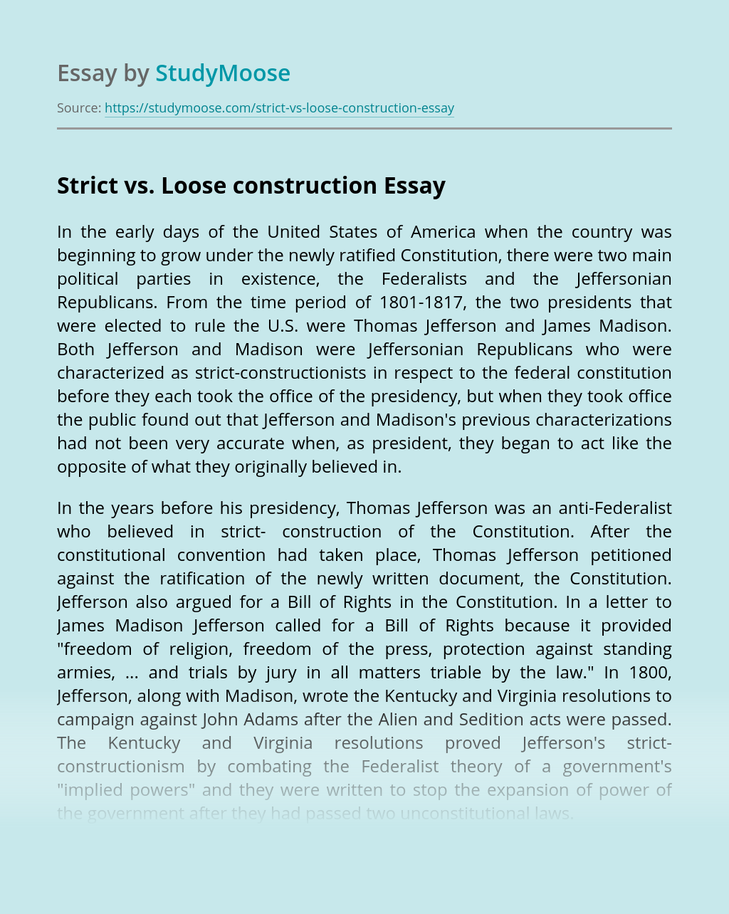 Strict vs. Loose construction