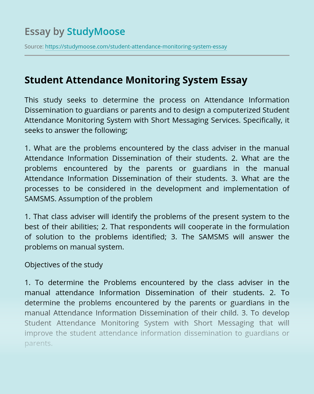 Student Attendance Monitoring System