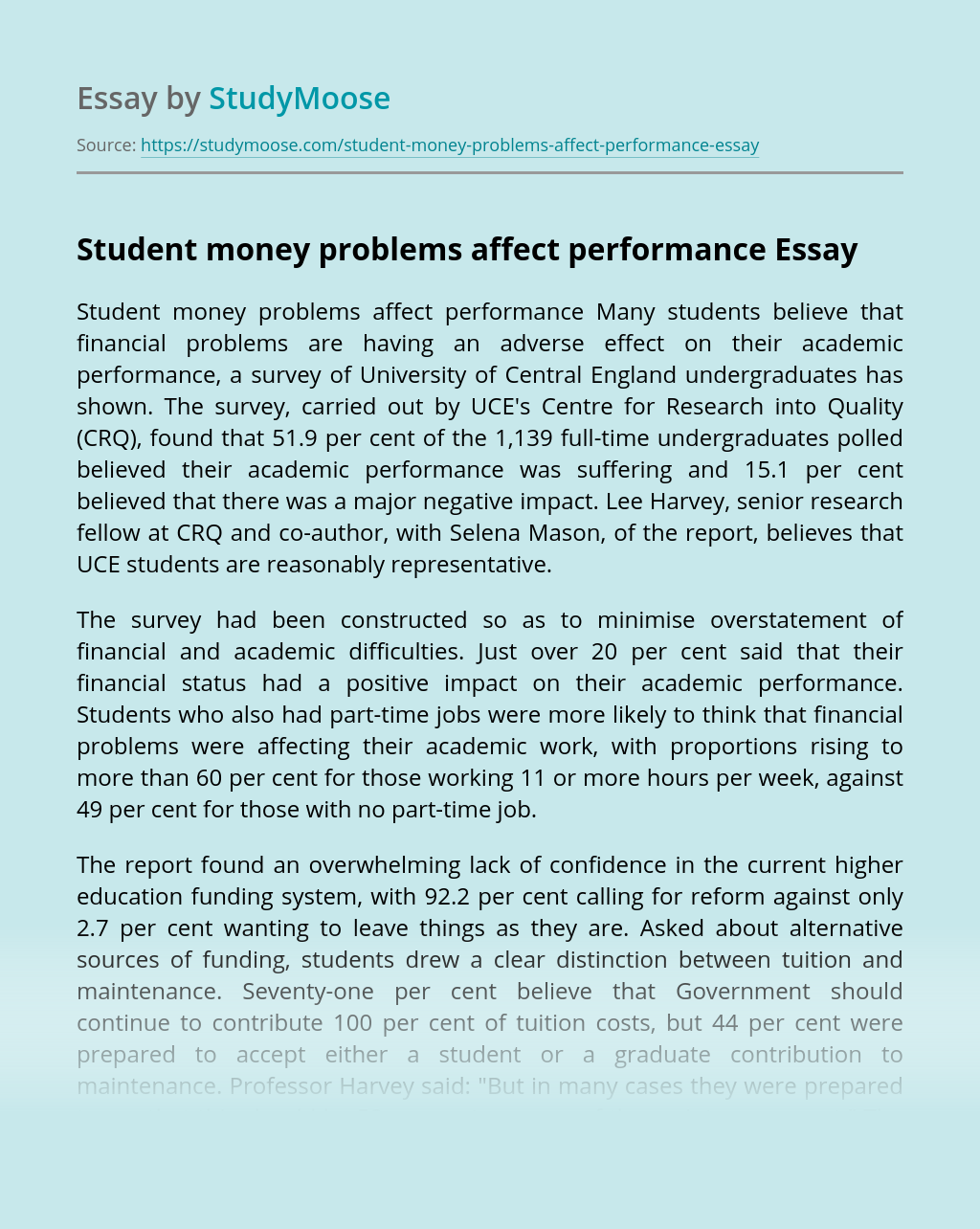 Student money problems affect performance