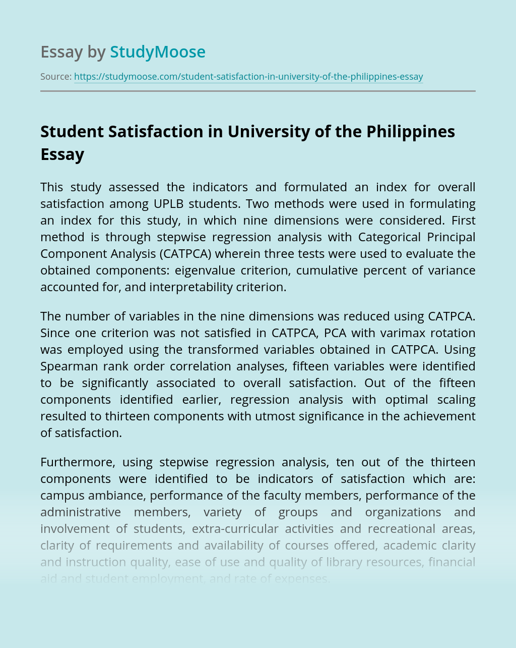 Student Satisfaction in University of the Philippines