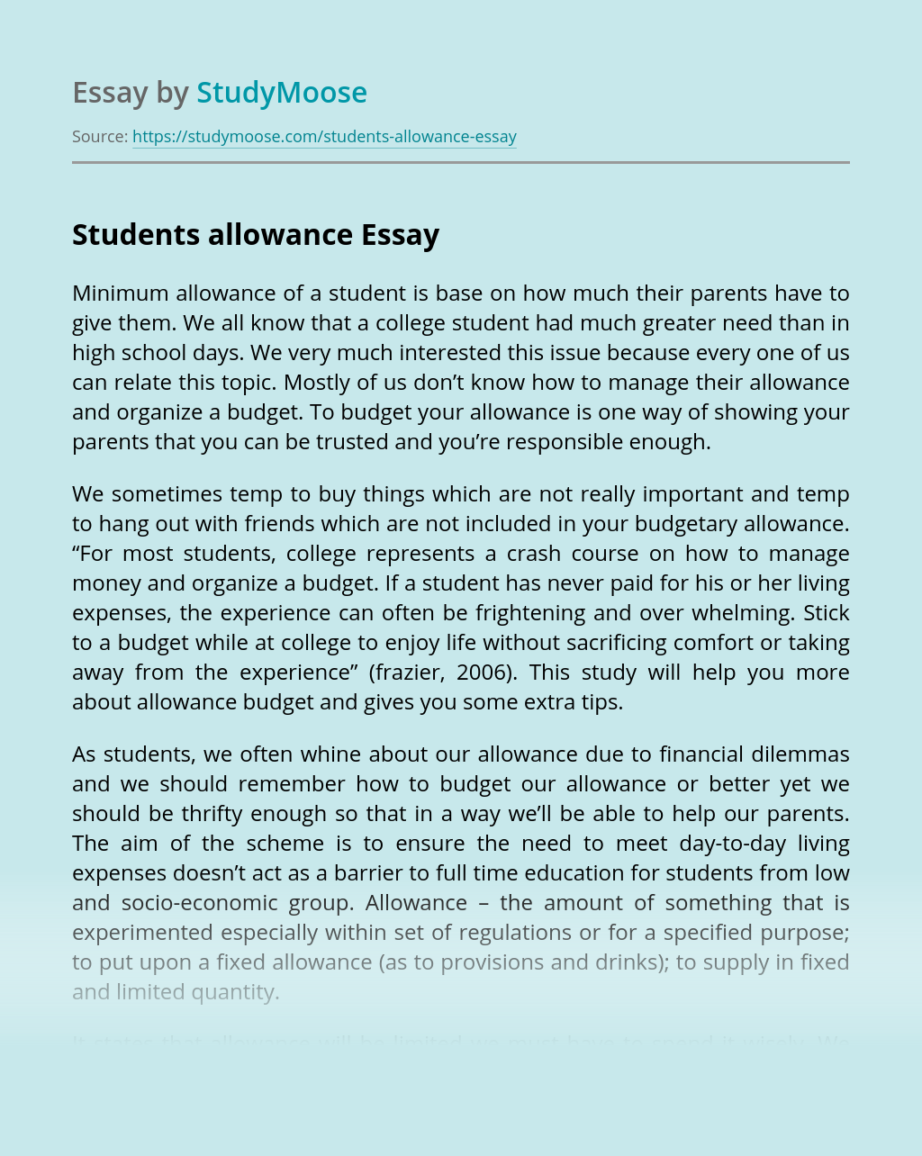 Students allowance