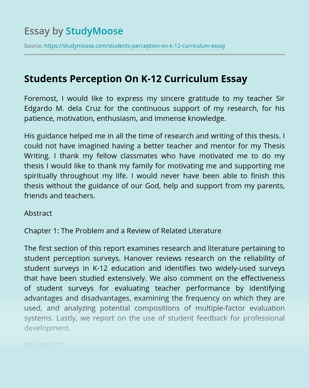 Students Perception On K-12 Curriculum