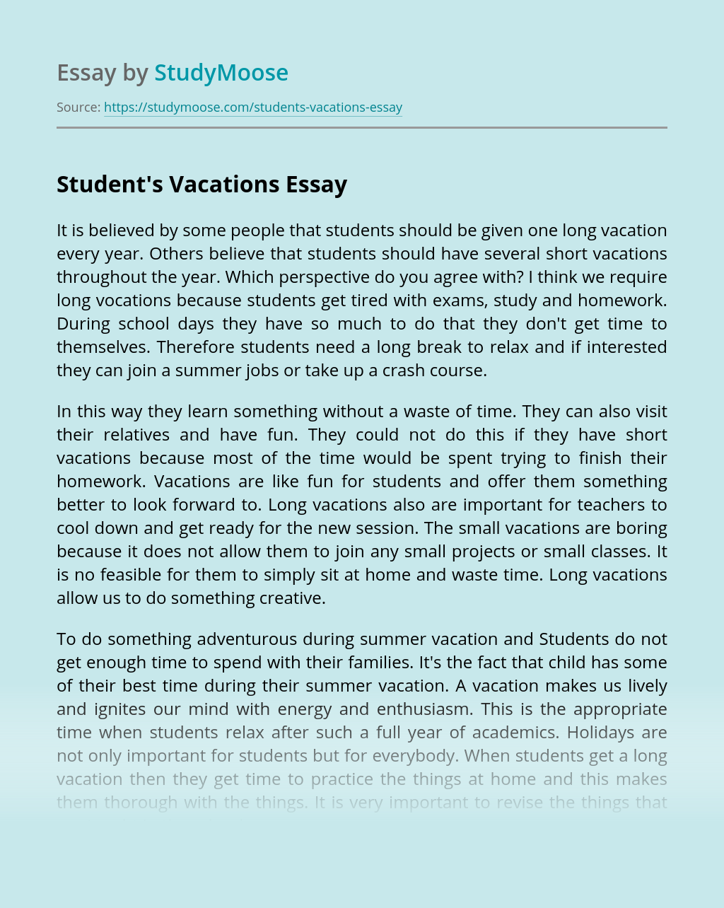 Student's Vacations