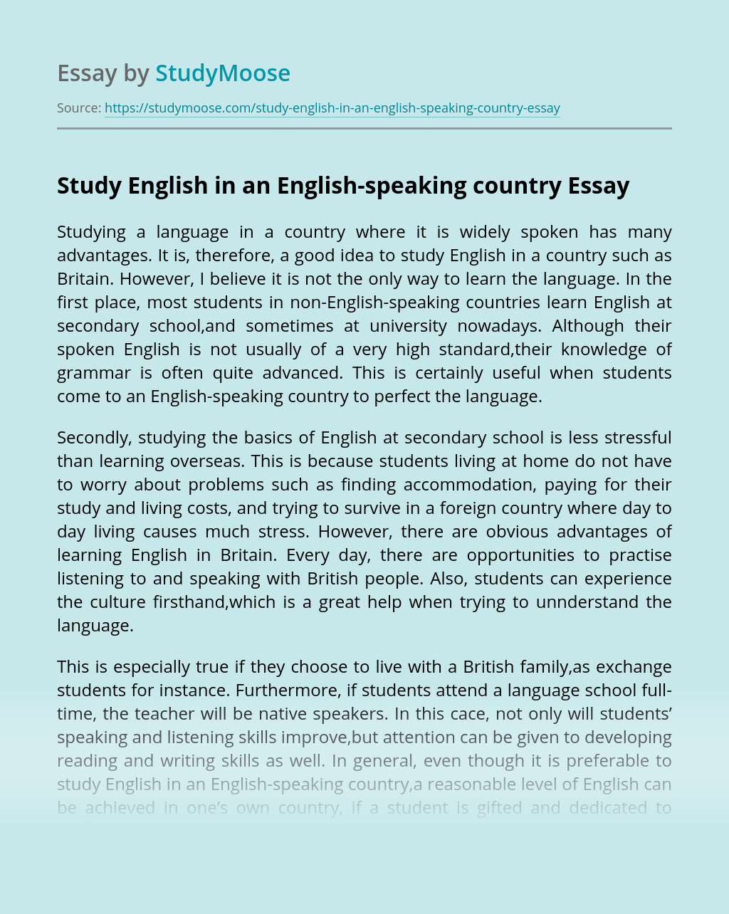 Study English in an English-speaking country