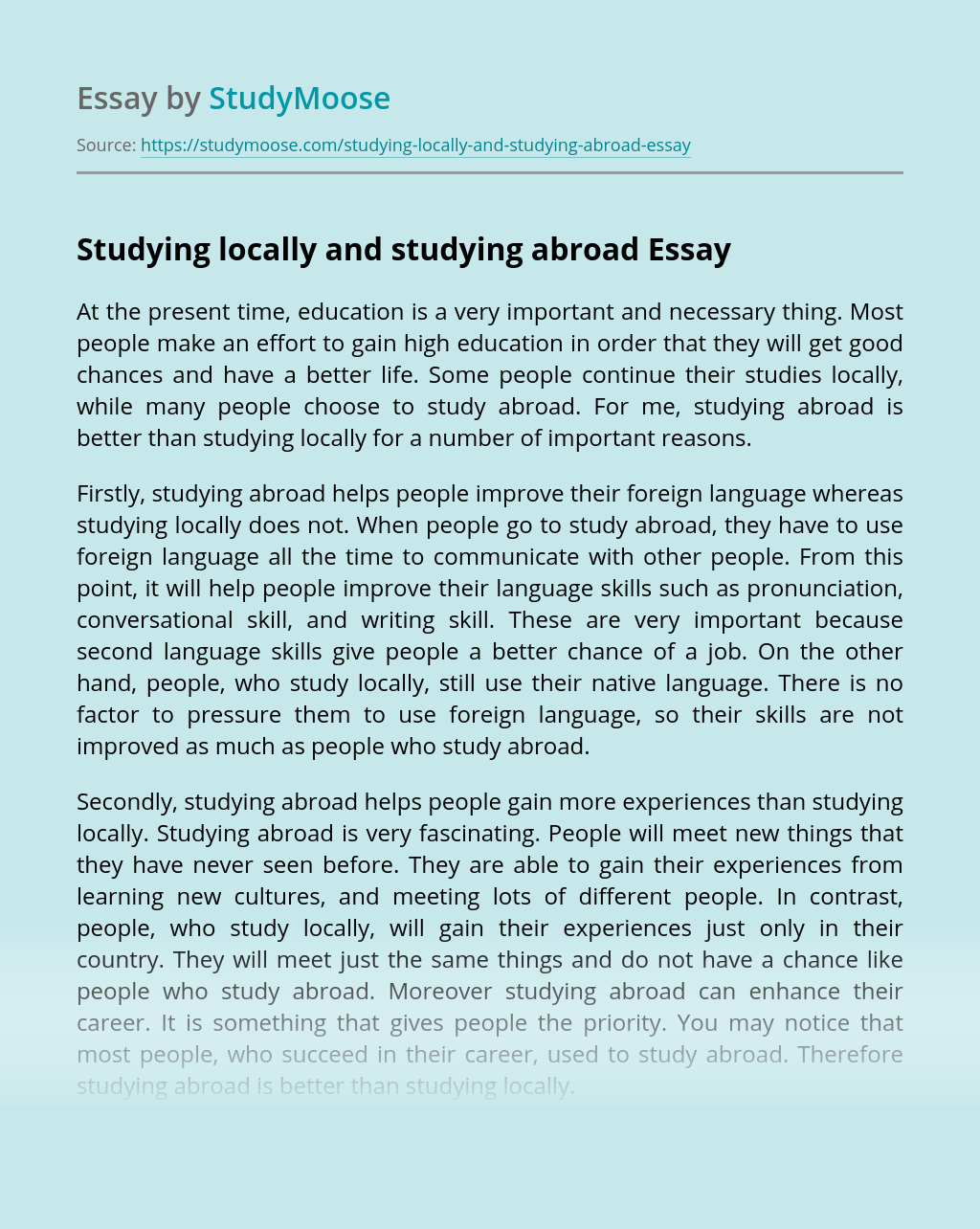 Studying locally and studying abroad