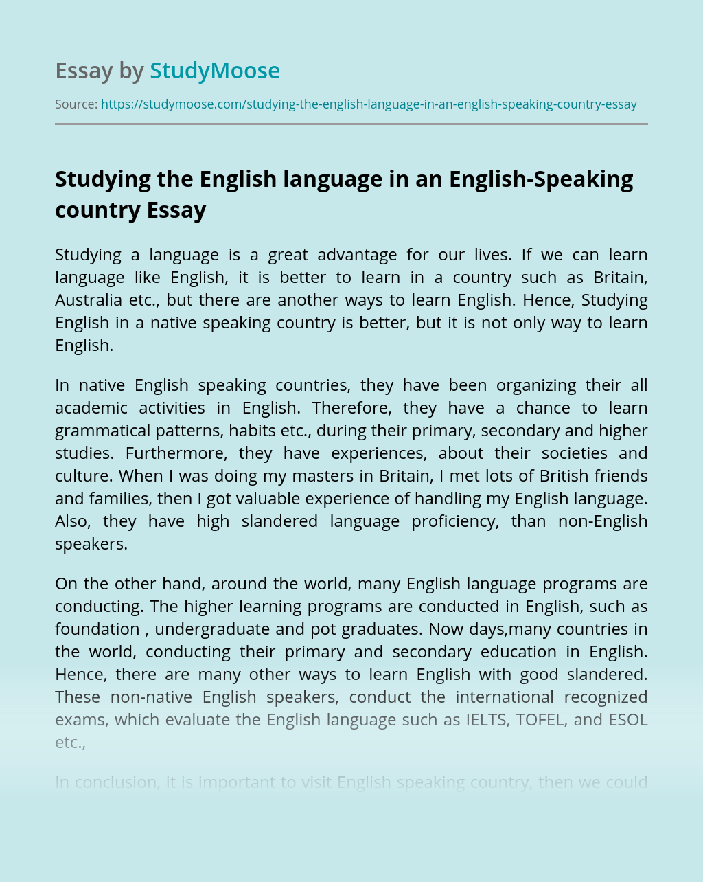 Studying the English language in an English-Speaking country