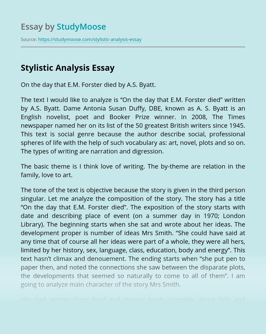 Stylistic Analysis
