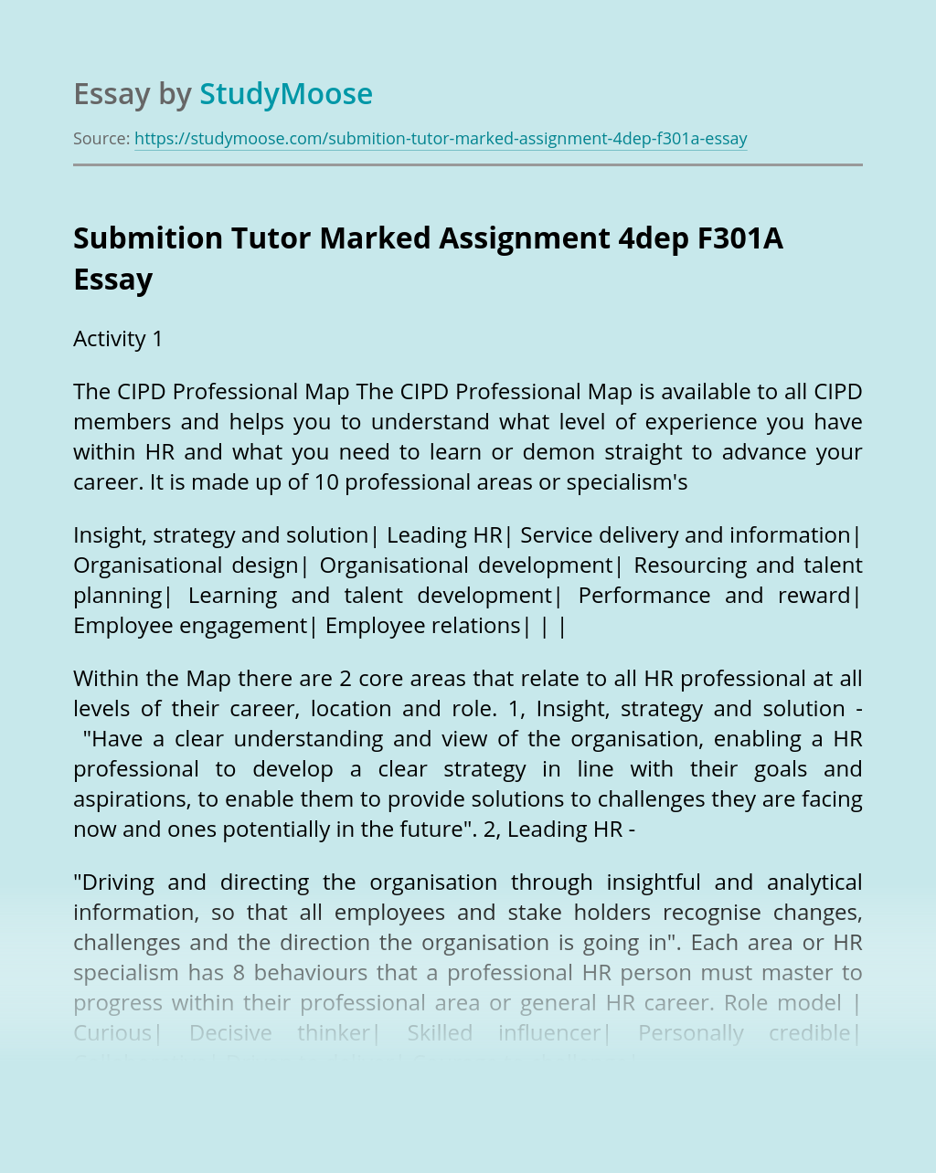 Submition Tutor Marked Assignment 4dep F301A