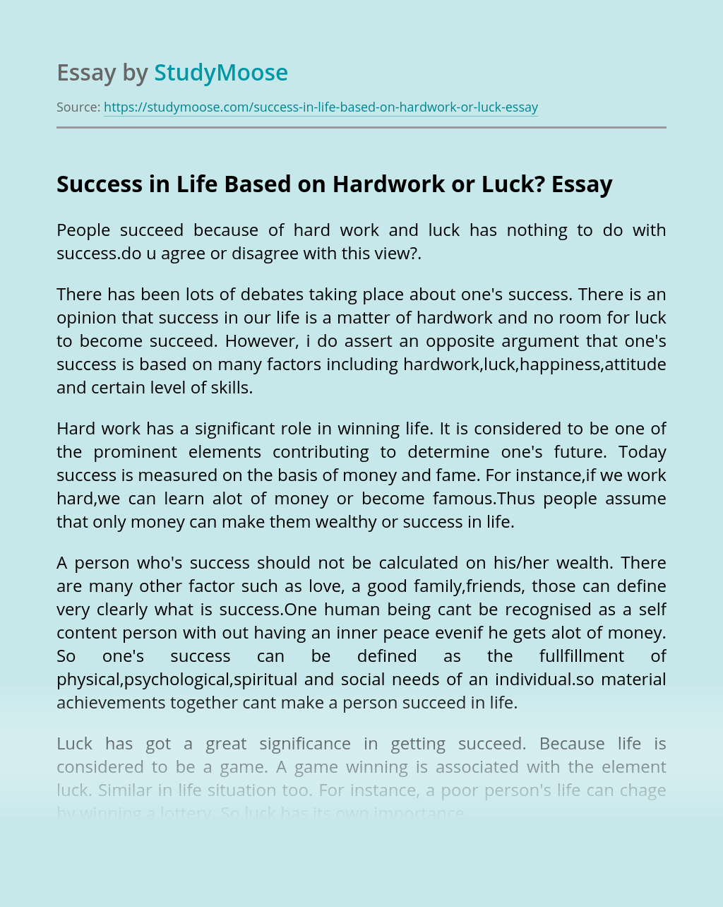 Success in Life Based on Hardwork or Luck?