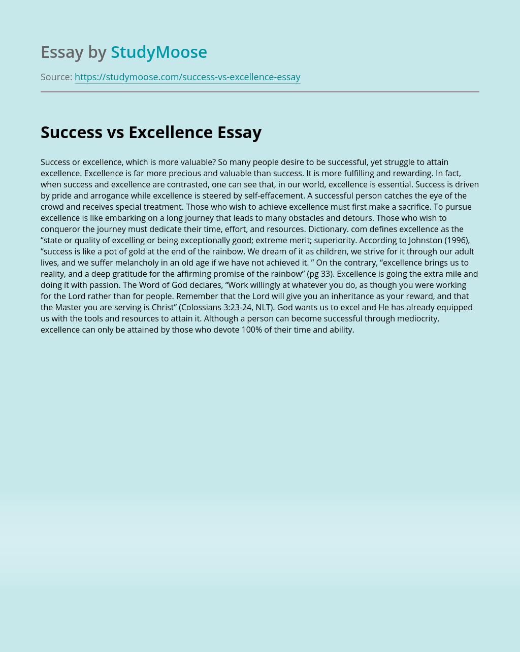 Success vs Excellence
