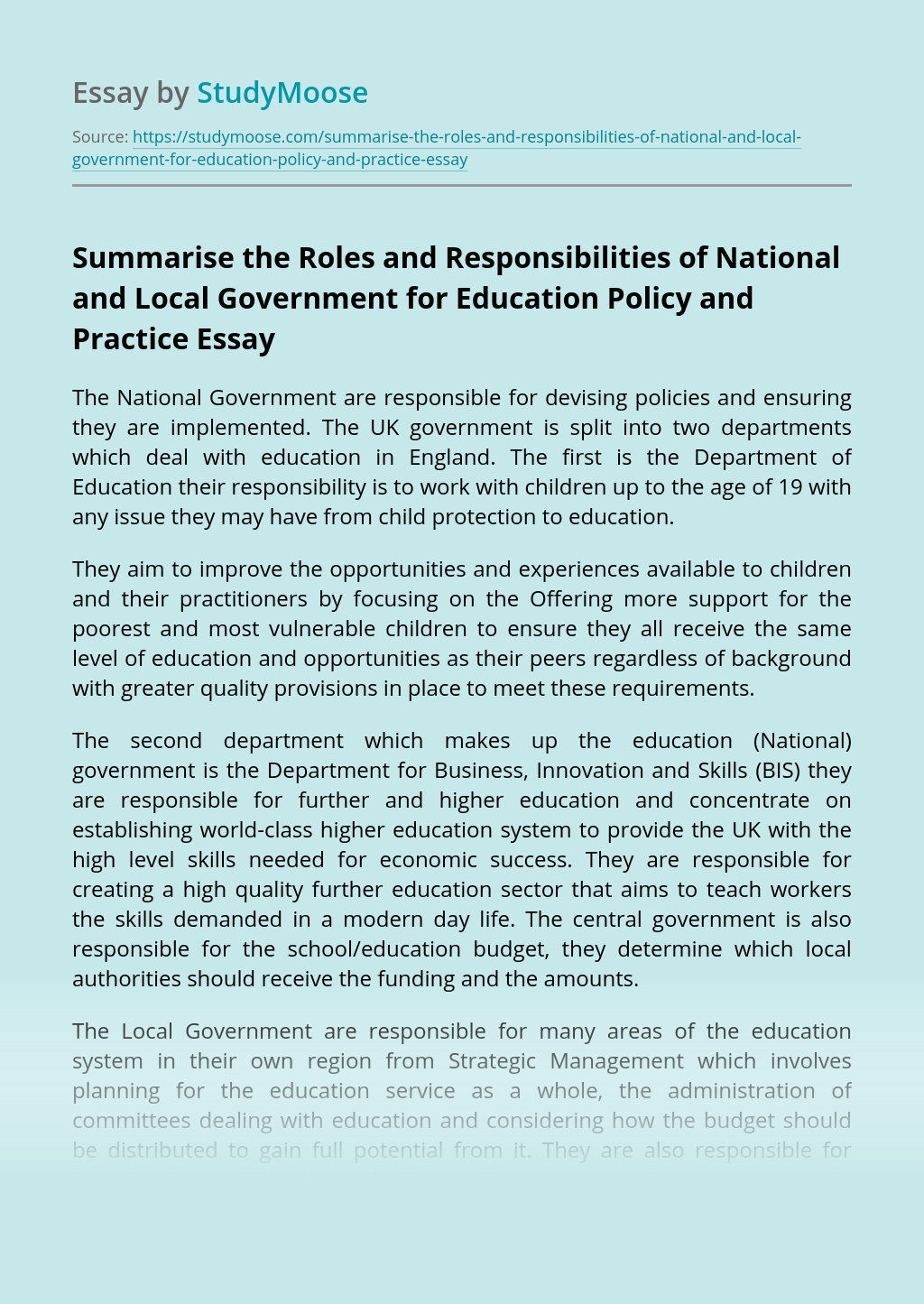 Summarise the Roles and Responsibilities of National and Local Government for Education Policy and Practice