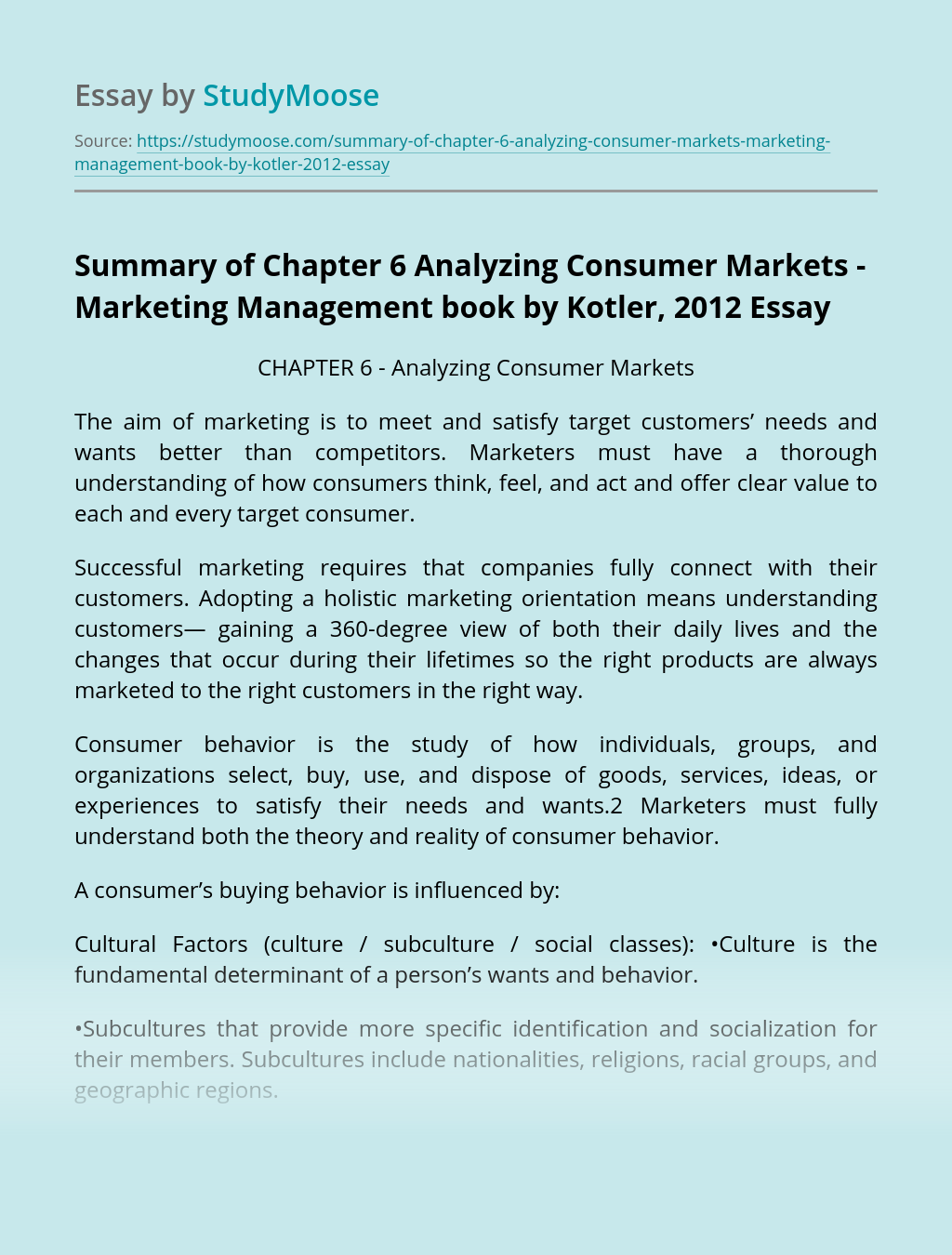 Summary of Chapter 6 Analyzing Consumer Markets - Marketing Management book by Kotler, 2012