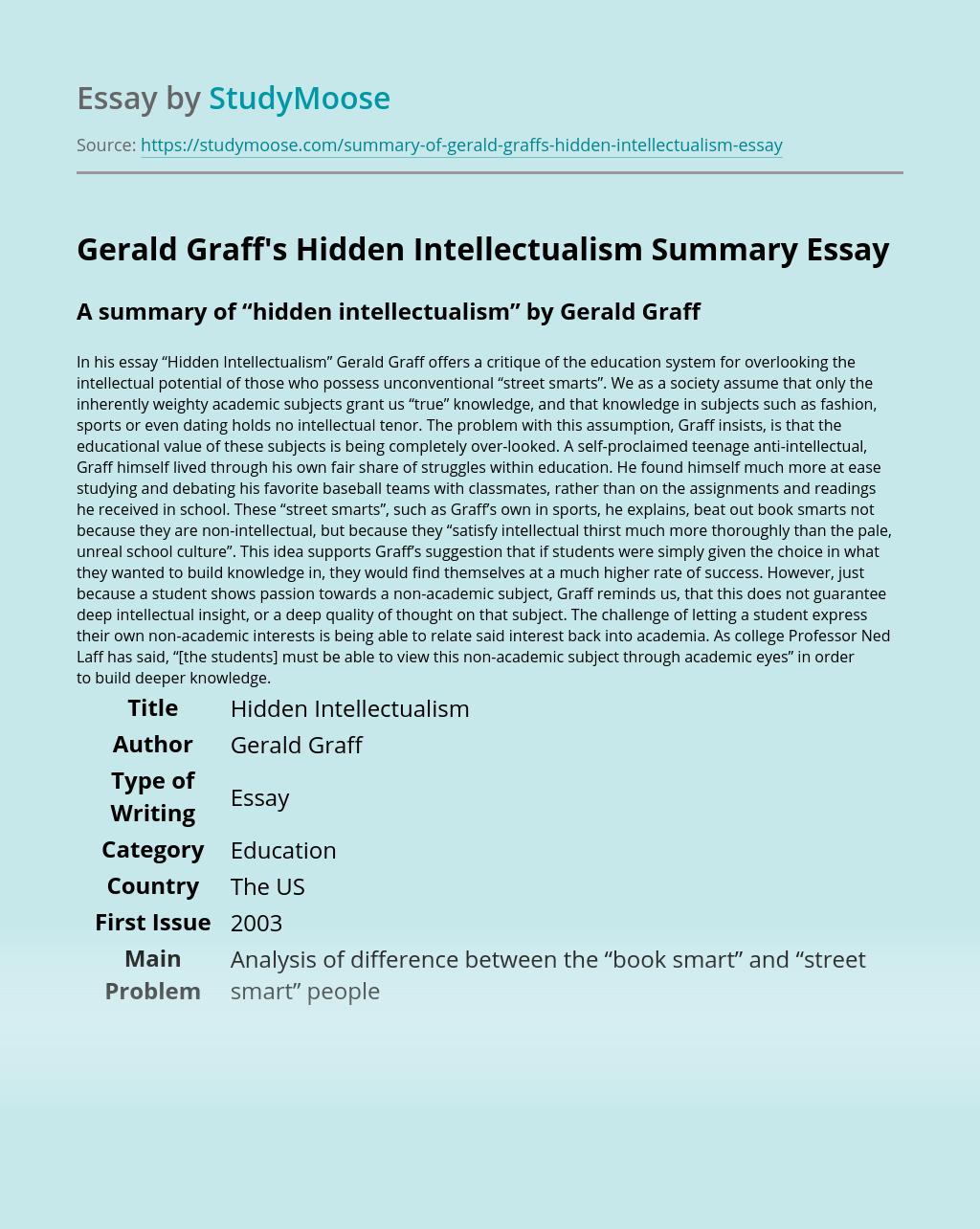 Gerald Graff's Hidden Intellectualism Summary