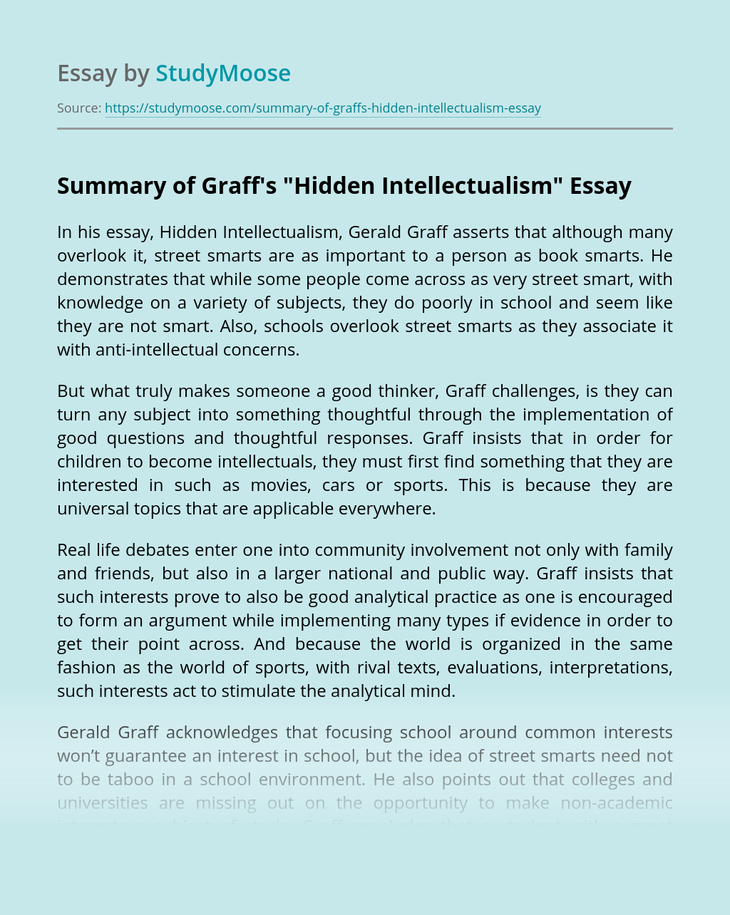 "Summary of Graff's ""Hidden Intellectualism"""