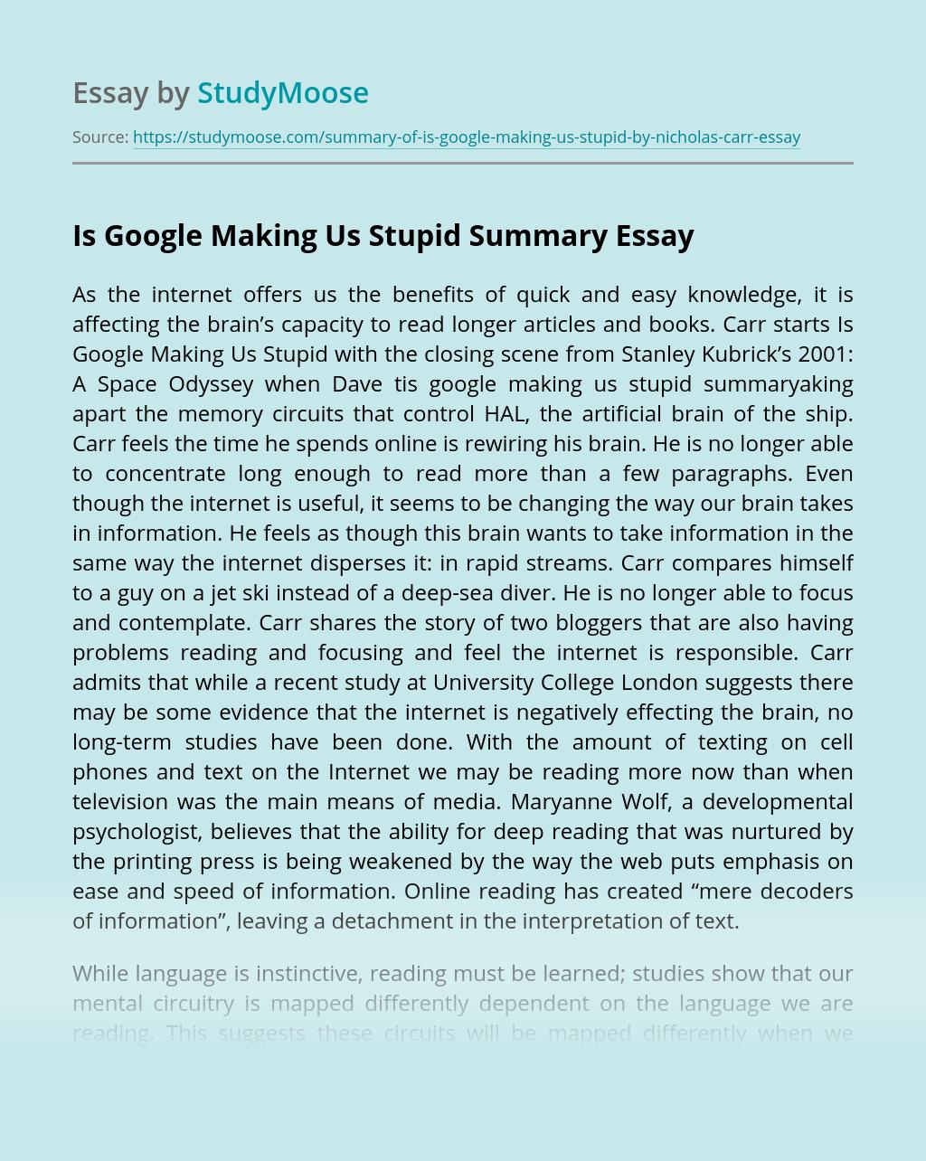 Is Google Making Us Stupid, Summary by Nicholas Carr