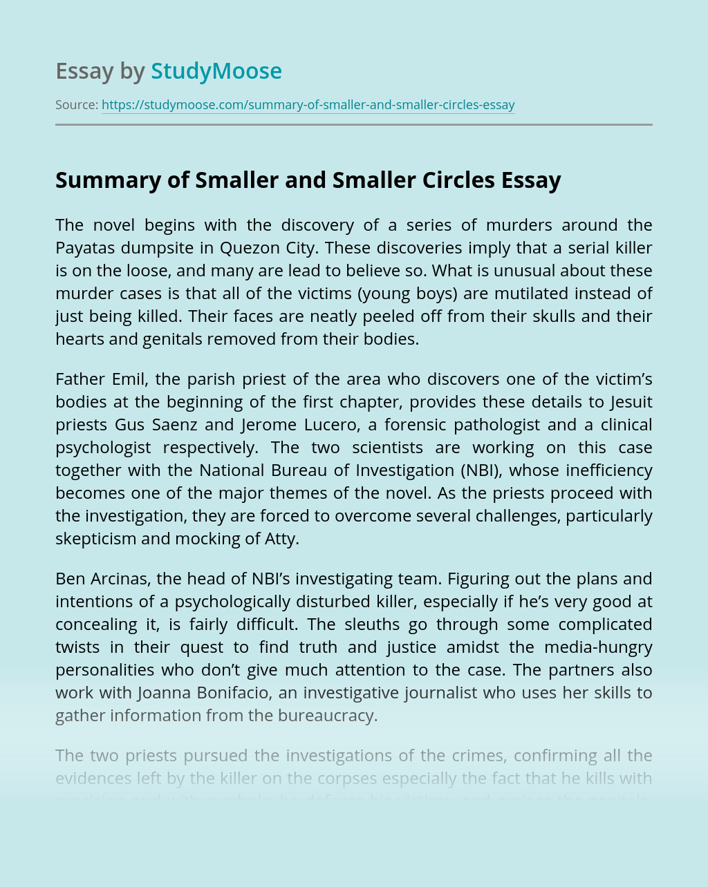 Summary of Smaller and Smaller Circles