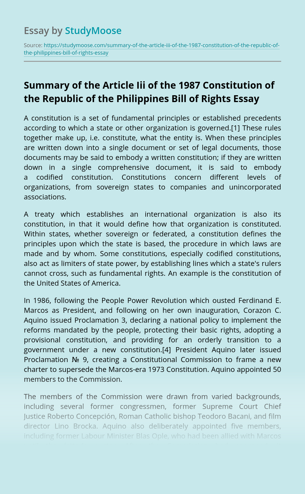 Summary of the Article Iii of the 1987 Constitution of the Republic of the Philippines Bill of Rights