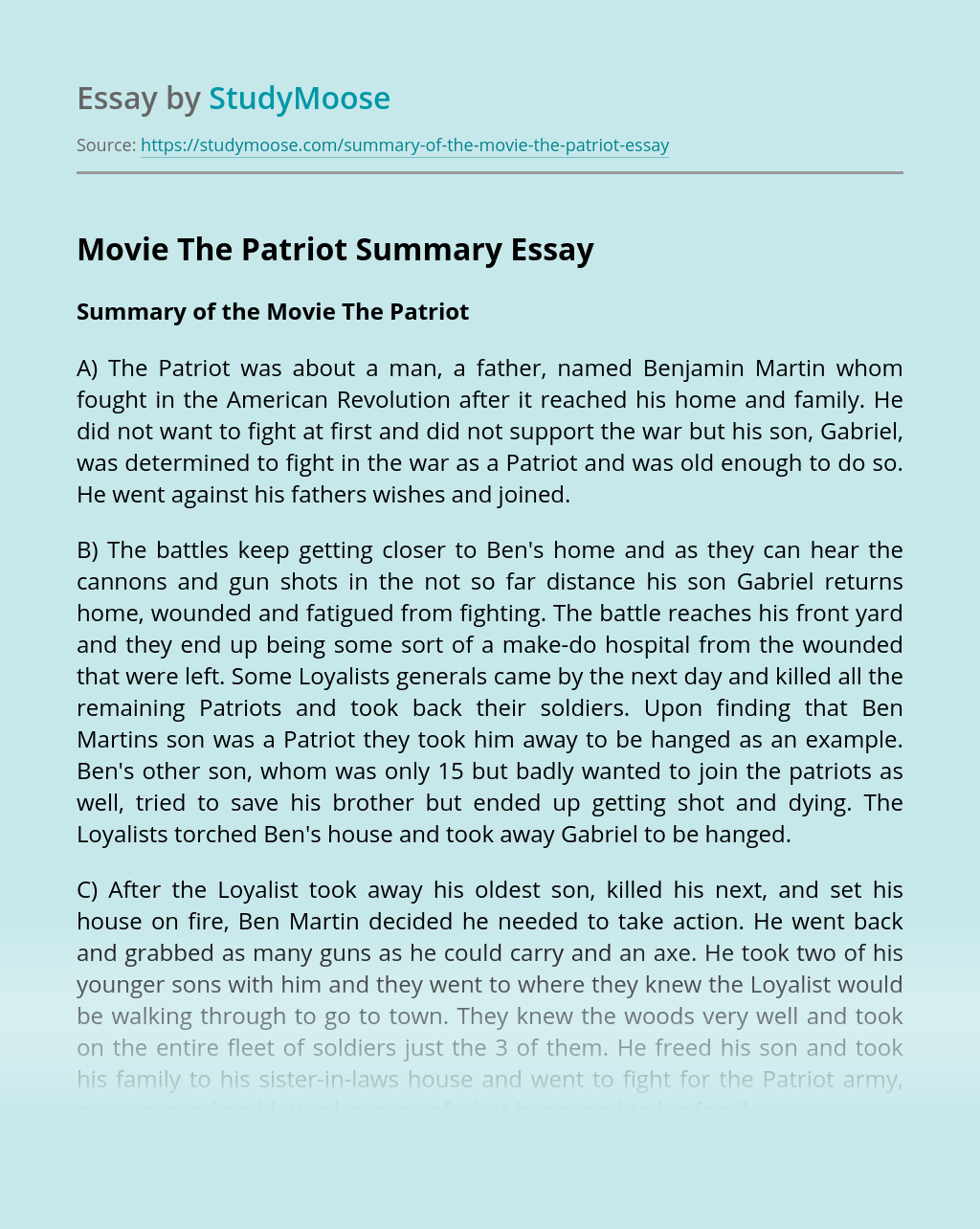 Movie The Patriot Summary