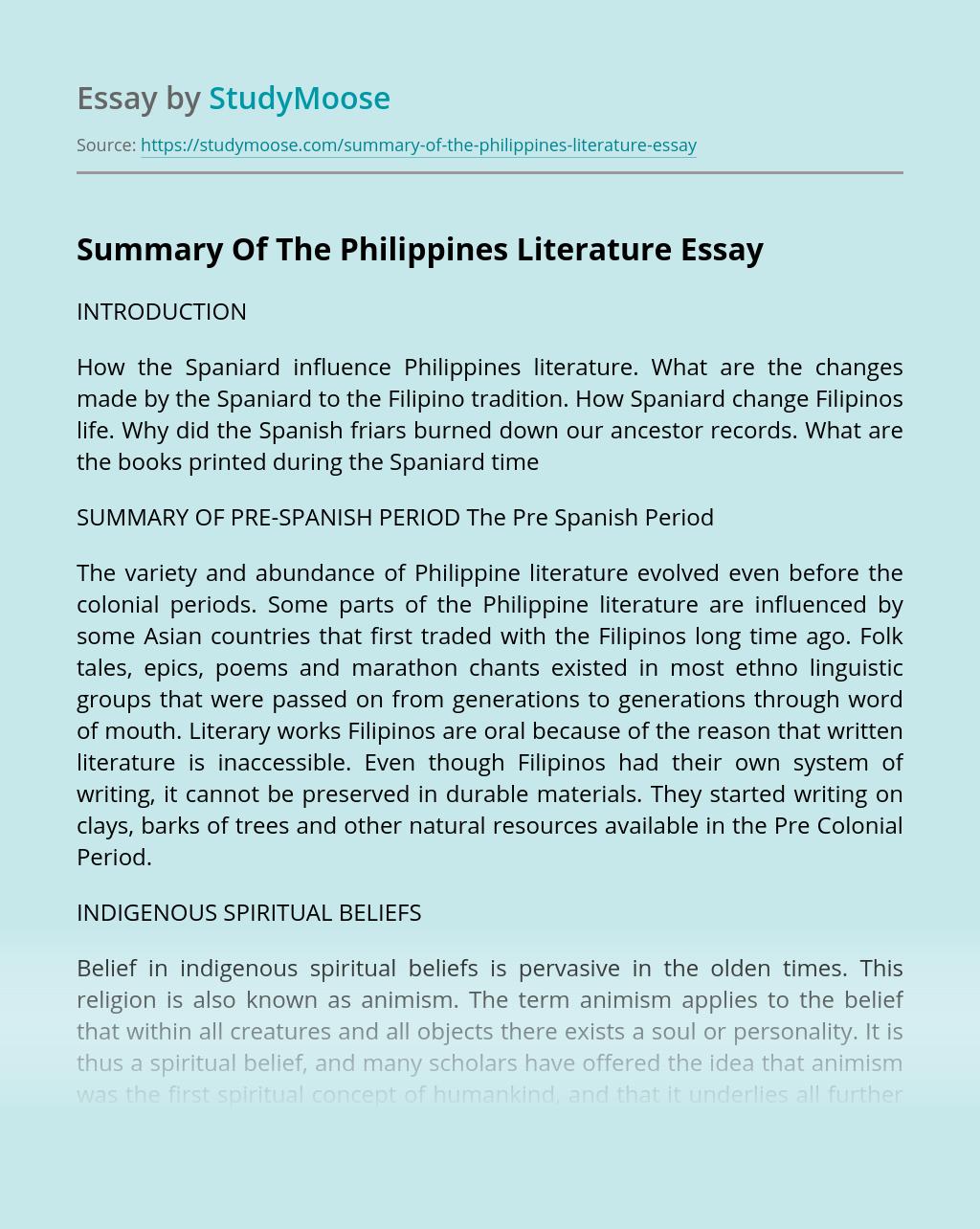Summary Of The Philippines Literature