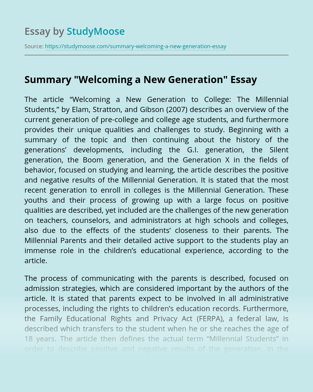 """Summary """"Welcoming a New Generation"""""""