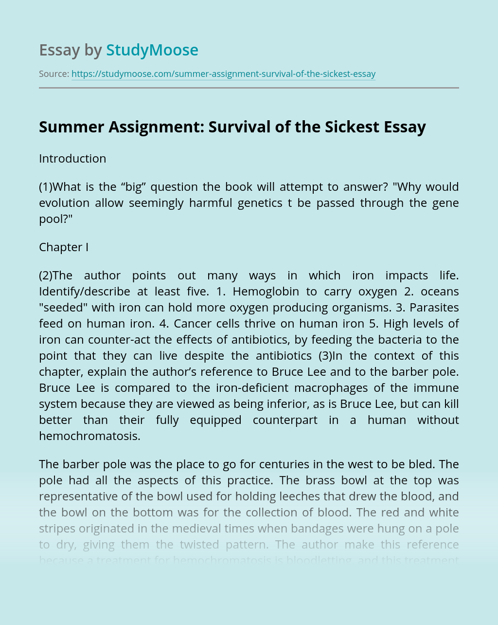 Summer Assignment: Survival of the Sickest