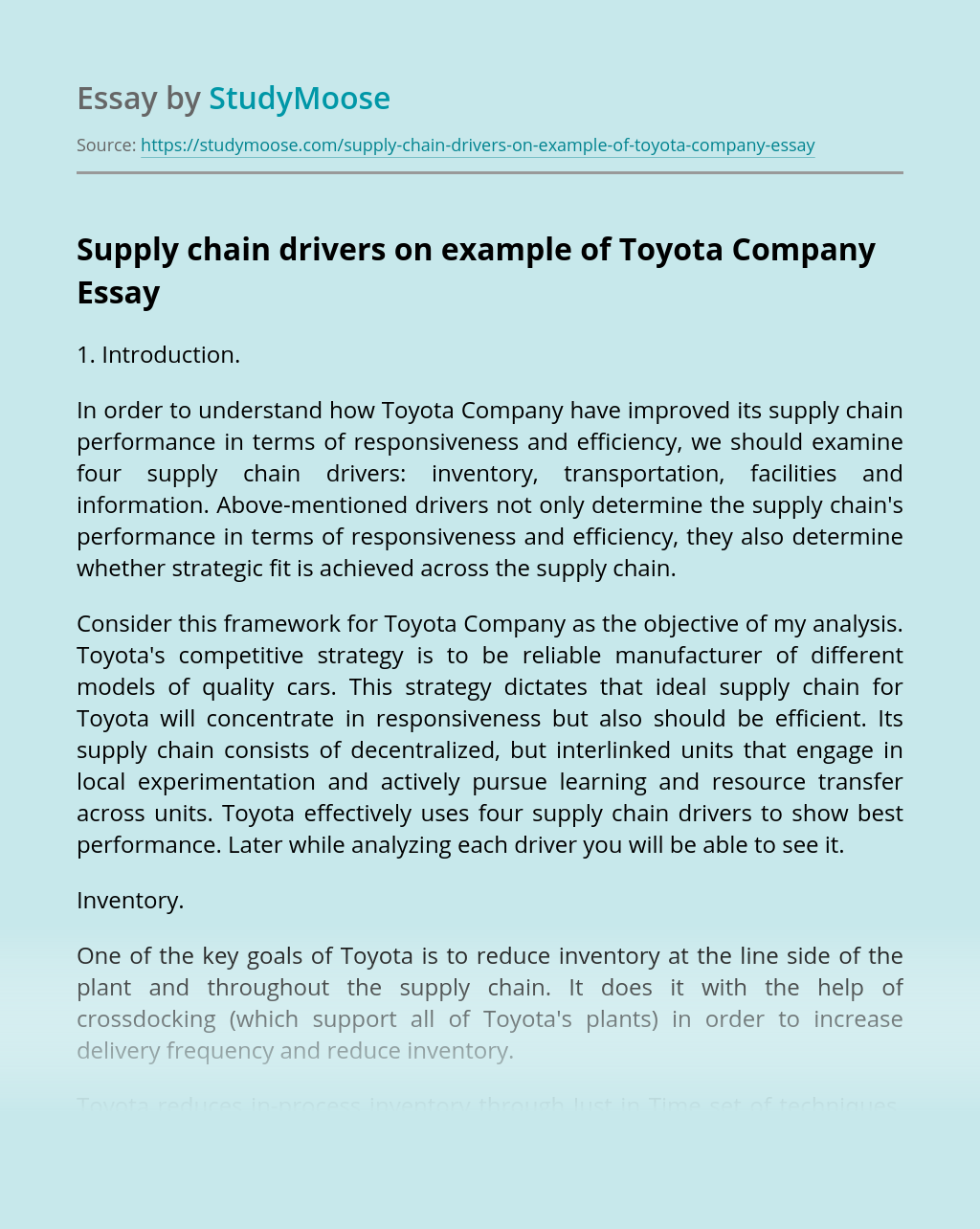 Supply chain drivers on example of Toyota Company