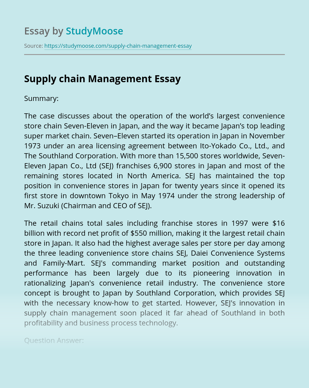 Supply Chain Management in Seven-Eleven Convenience Store Chain