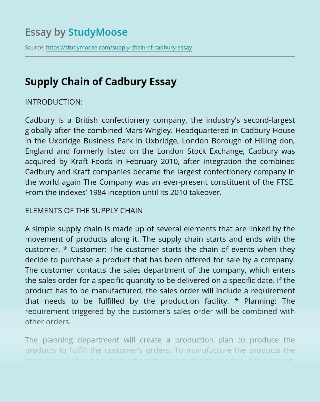 Supply Chain of Cadbury