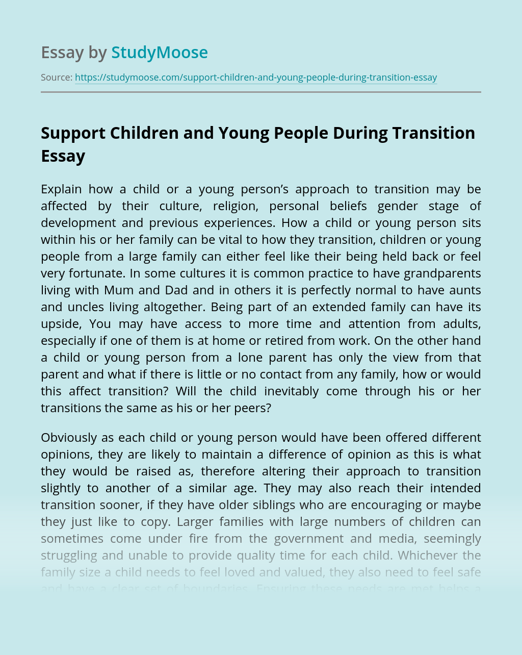 Support Children and Young People During Transition