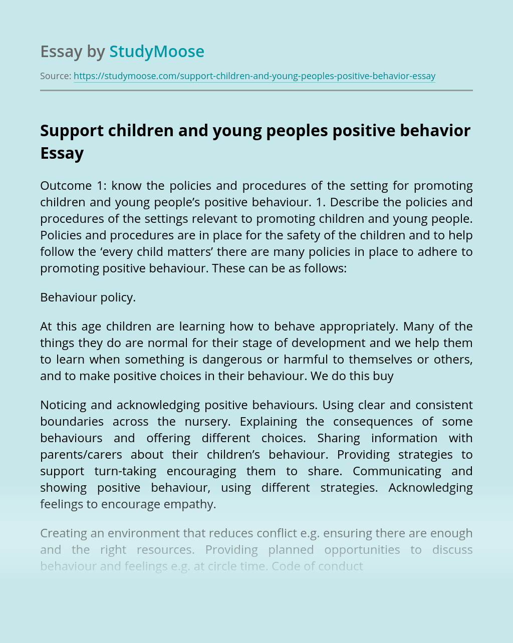 Support children and young peoples positive behavior