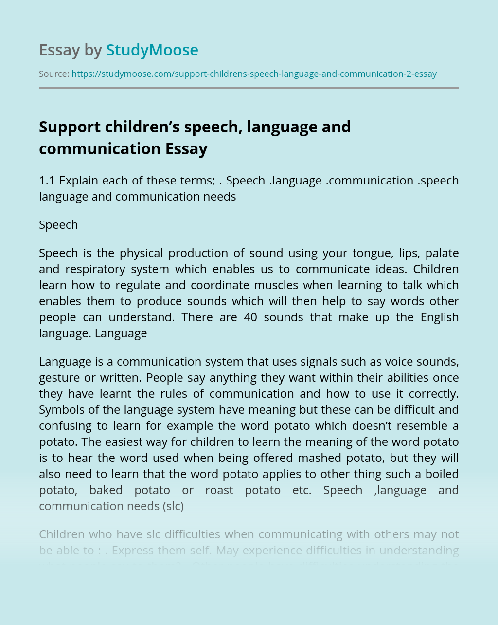 Support children's speech, language and communication