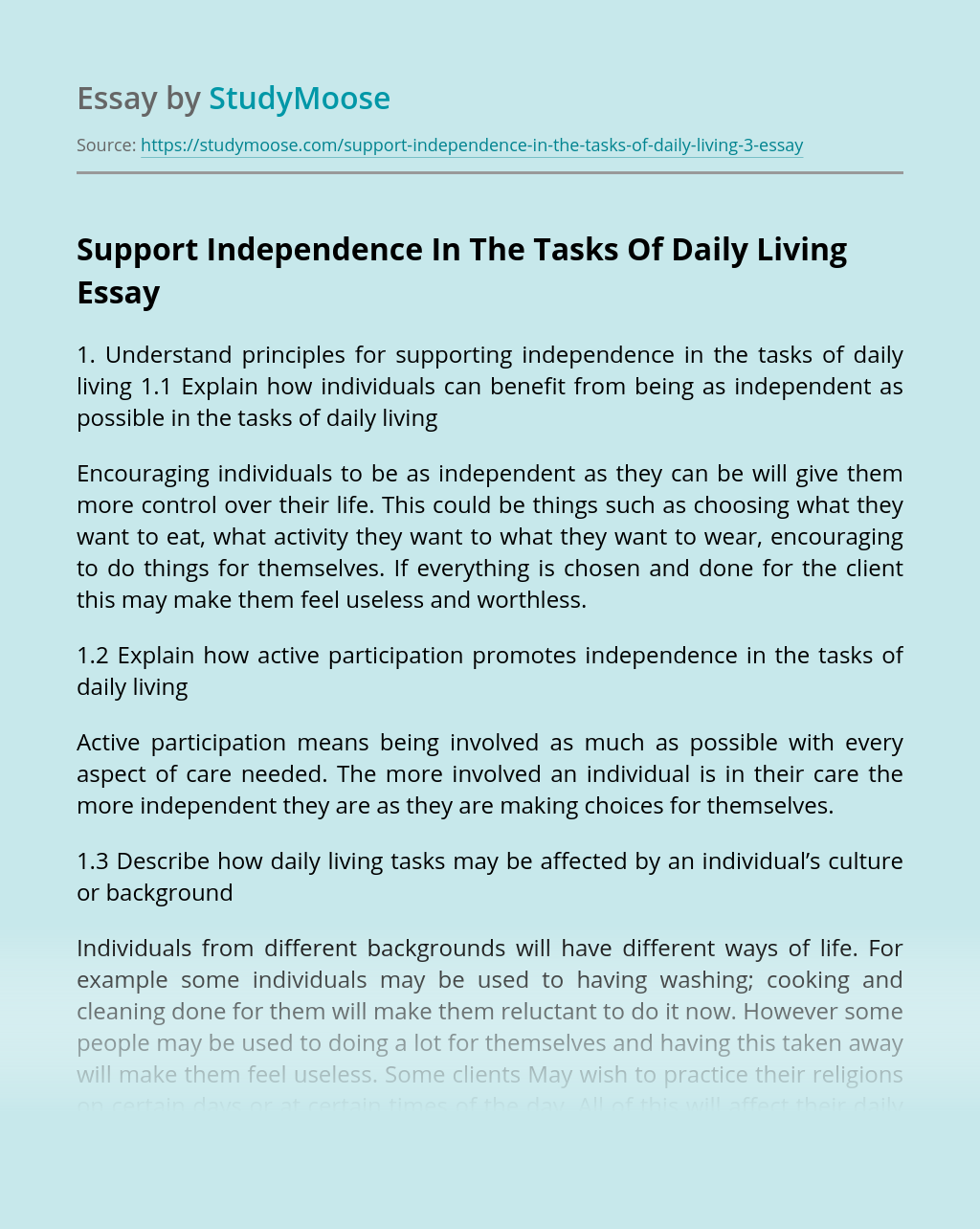Support Independence In The Tasks Of Daily Living