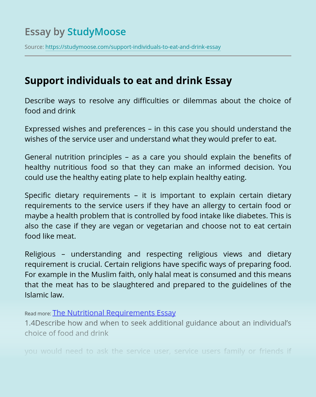 Support individuals to eat and drink